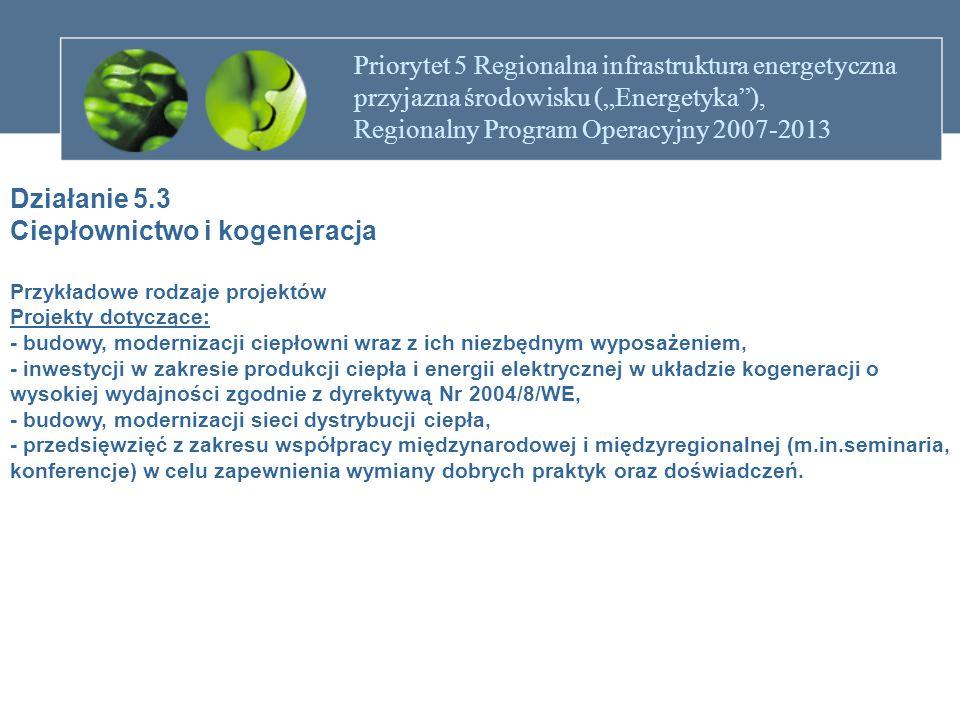 """Priorytet 5 Regionalna infrastruktura energetyczna przyjazna środowisku (""""Energetyka""""), Regionalny Program Operacyjny 2007-2013 Działanie 5.3 Ciepłown"""