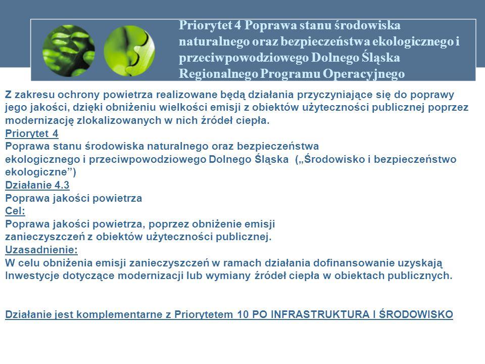 Priorytet 4 Poprawa stanu środowiska naturalnego oraz bezpieczeństwa ekologicznego i przeciwpowodziowego Dolnego Śląska Regionalnego Programu Operacyj