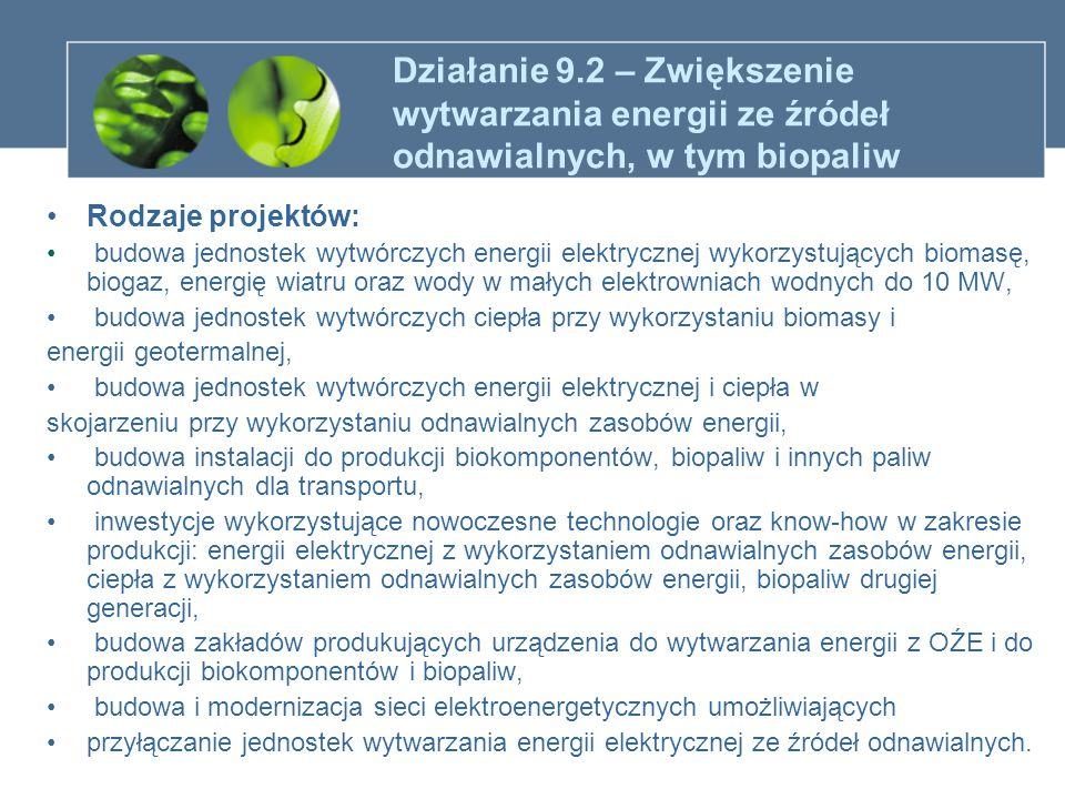 Działanie 9.2 – Zwiększenie wytwarzania energii ze źródeł odnawialnych, w tym biopaliw Rodzaje projektów: budowa jednostek wytwórczych energii elektry