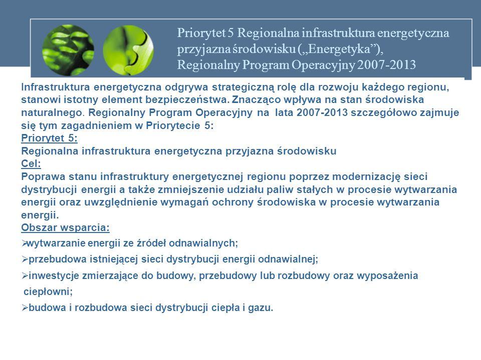 PROGRAM OPERACYJNY INFRASTRUKTURA I ŚRODOWISKO Priorytet 9: Infrastruktura energetyczna przyjazna środowisku Główny cel priorytetu : Poprawa bezpieczeństwa energetycznego państwa w zakresie oddziaływania sektora energetyki na środowisko Przewidywane efekty realizacji priorytetu : zmniejszenie zużycia energii pierwotnej oraz emisji CO2 i innych gazów cieplarnianych, wzrost wykorzystania odnawialnych źródeł energii