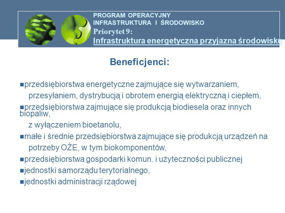 PROGRAM OPERACYJNY INFRASTRUKTURA I ŚRODOWISKO Priorytet 9: Infrastruktura energetyczna przyjazna środowisku Beneficjenci: przedsiębiorstwa energetycz