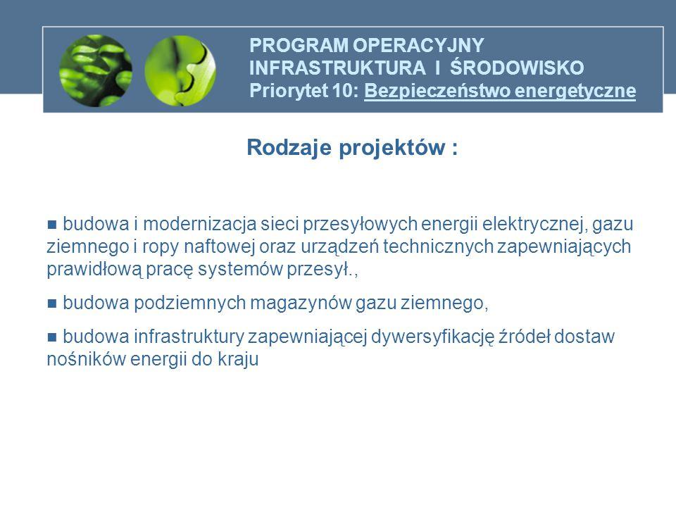 PROGRAM OPERACYJNY INFRASTRUKTURA I ŚRODOWISKO Priorytet 10: Bezpieczeństwo energetyczne Rodzaje projektów : budowa i modernizacja sieci przesyłowych