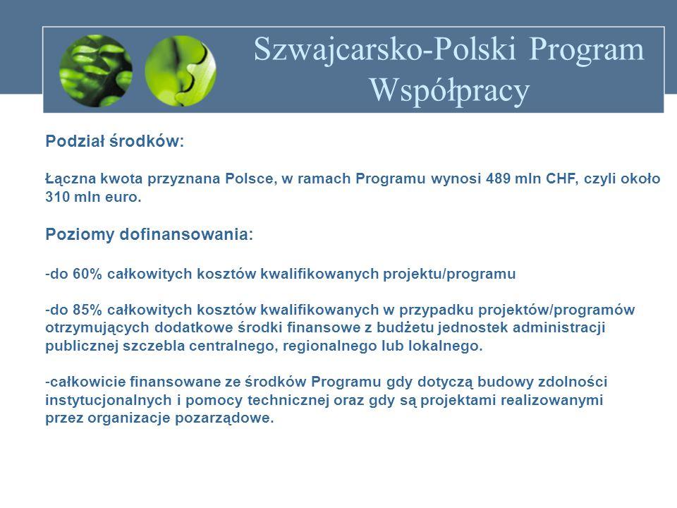Szwajcarsko-Polski Program Współpracy Podział środków: Łączna kwota przyznana Polsce, w ramach Programu wynosi 489 mln CHF, czyli około 310 mln euro.