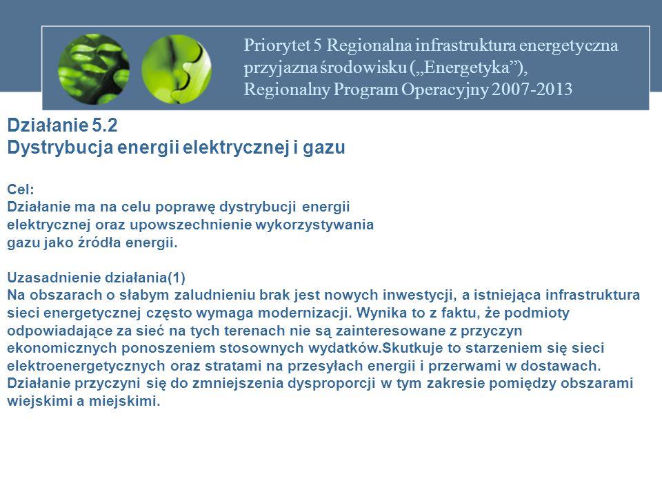 """Priorytet 5 Regionalna infrastruktura energetyczna przyjazna środowisku (""""Energetyka ), Regionalny Program Operacyjny 2007-2013 Uzasadnienie działania(2) Ma to wpływ na rozwój gospodarczy terenów słabiej zaludnionych."""