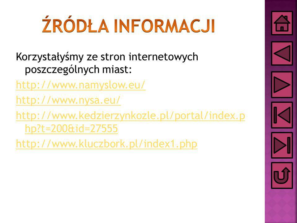 Korzystałyśmy ze stron internetowych poszczególnych miast: http://www.namyslow.eu/ http://www.nysa.eu/ http://www.kedzierzynkozle.pl/portal/index.p hp