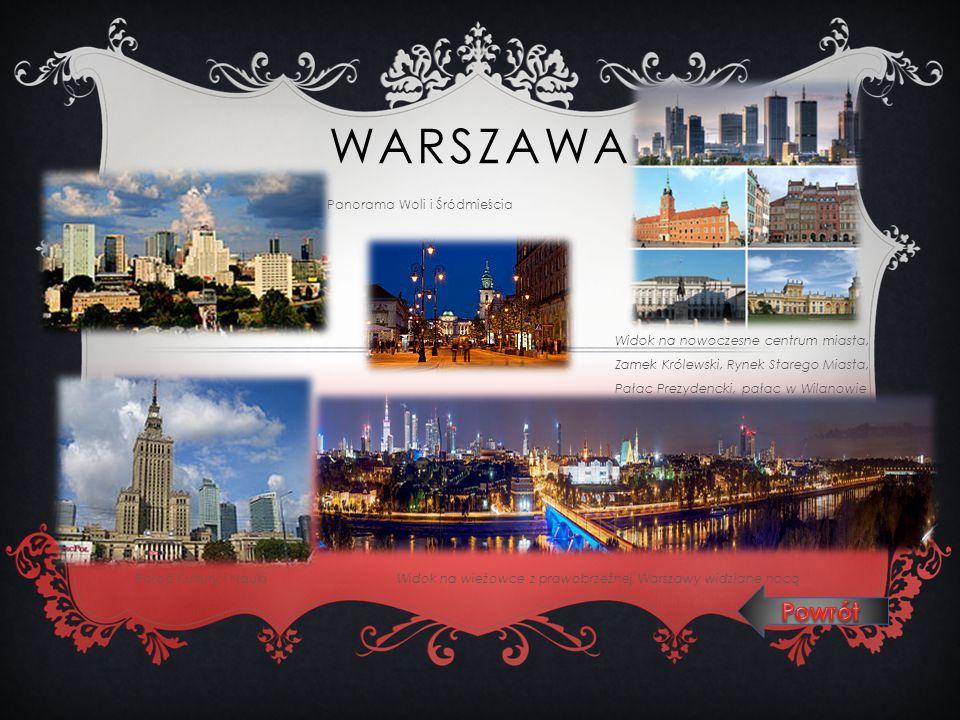 WARSZAWA Panorama Woli i Śródmieścia Widok na nowoczesne centrum miasta, Zamek Królewski, Rynek Starego Miasta, Pałac Prezydencki, pałac w Wilanowie P