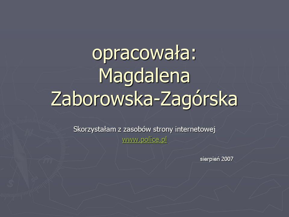 opracowała: Magdalena Zaborowska-Zagórska Skorzystałam z zasobów strony internetowej www.police.pl sierpień 2007