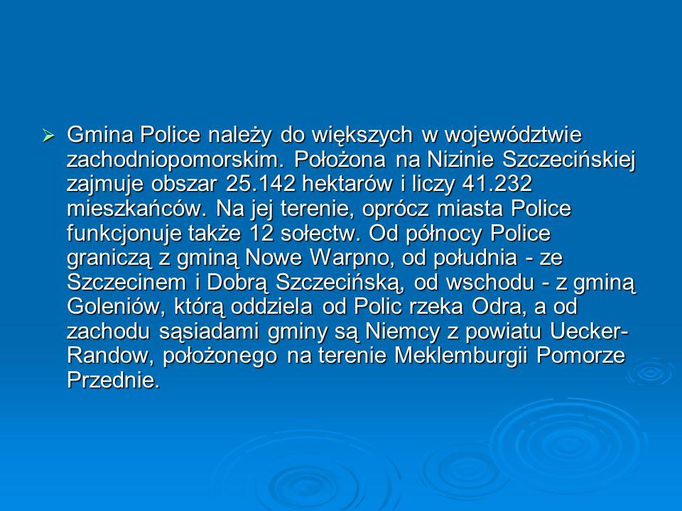  Gmina Police należy do większych w województwie zachodniopomorskim. Położona na Nizinie Szczecińskiej zajmuje obszar 25.142 hektarów i liczy 41.232