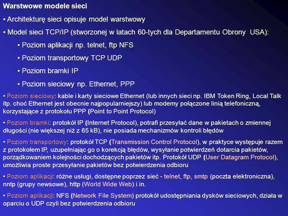 Warstwowe modele sieci Architekturę sieci opisuje model warstwowy Model sieci TCP/IP (stworzonej w latach 60-tych dla Departamentu Obrony USA): Poziom