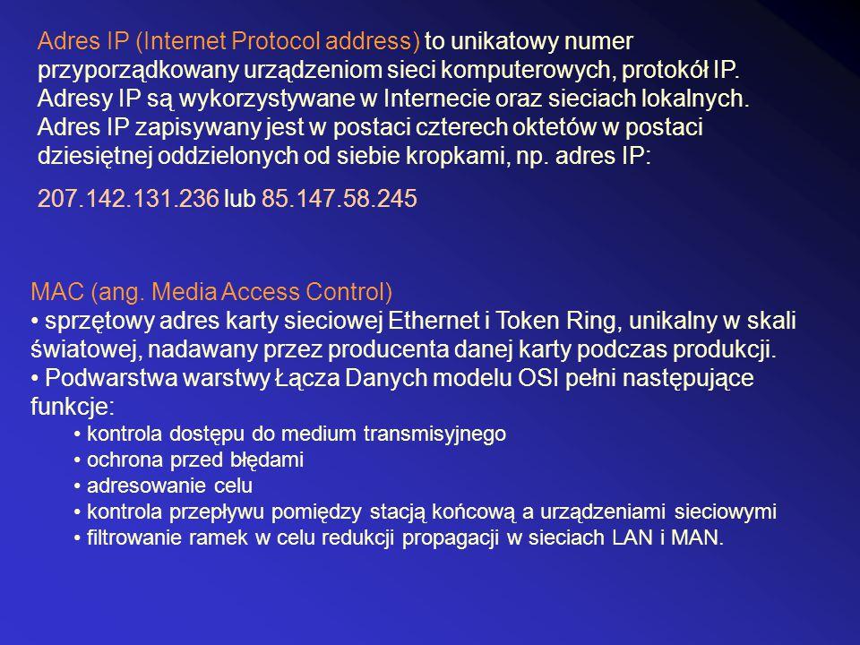 MAC (ang. Media Access Control) sprzętowy adres karty sieciowej Ethernet i Token Ring, unikalny w skali światowej, nadawany przez producenta danej kar