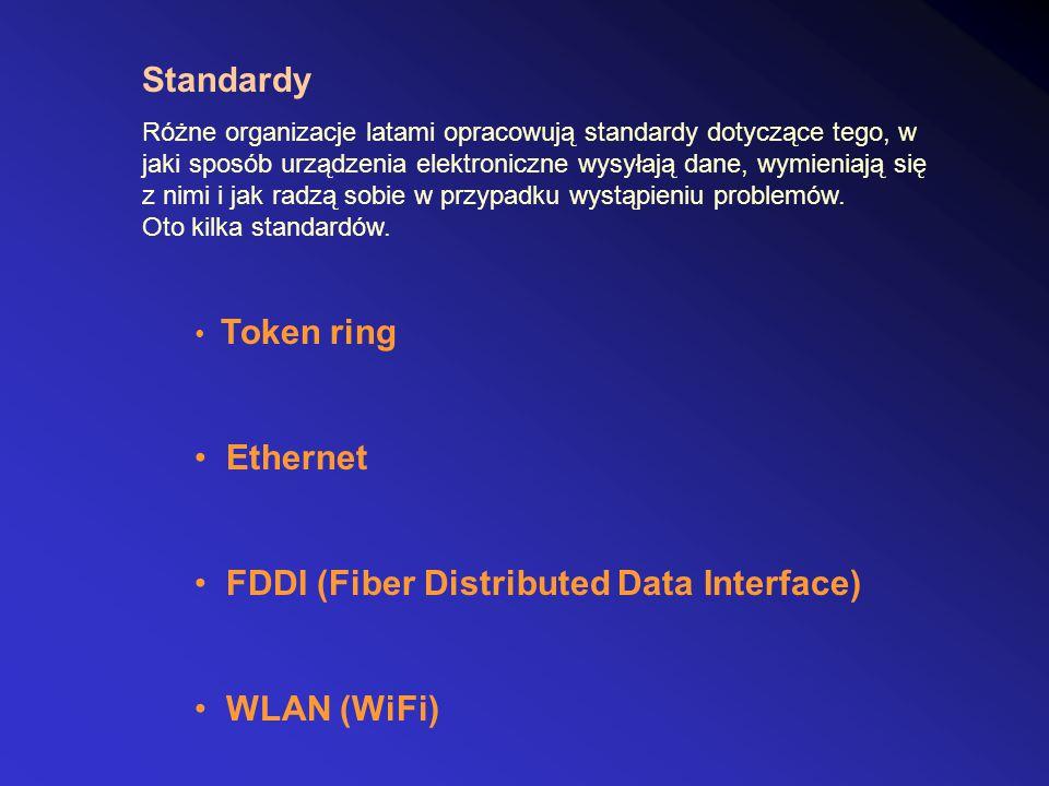 Standardy Różne organizacje latami opracowują standardy dotyczące tego, w jaki sposób urządzenia elektroniczne wysyłają dane, wymieniają się z nimi i