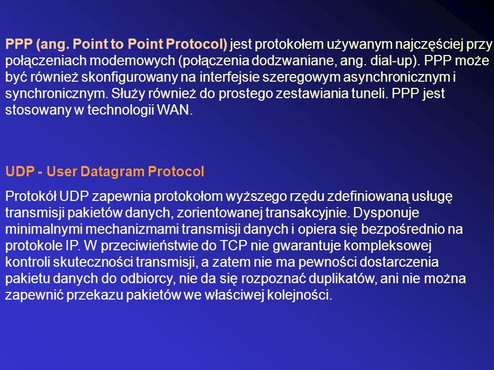 PPP (ang. Point to Point Protocol) jest protokołem używanym najczęściej przy połączeniach modemowych (połączenia dodzwaniane, ang. dial-up). PPP może