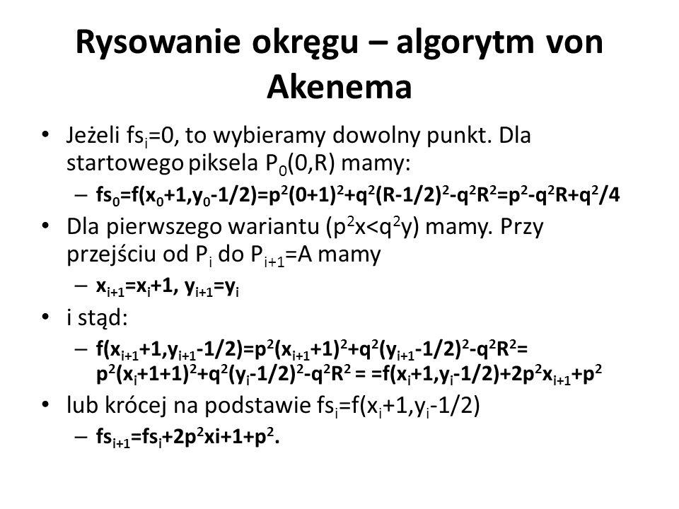 Rysowanie okręgu – algorytm von Akenema Jeżeli fs i =0, to wybieramy dowolny punkt. Dla startowego piksela P 0 (0,R) mamy: – fs 0 =f(x 0 +1,y 0 -1/2)=