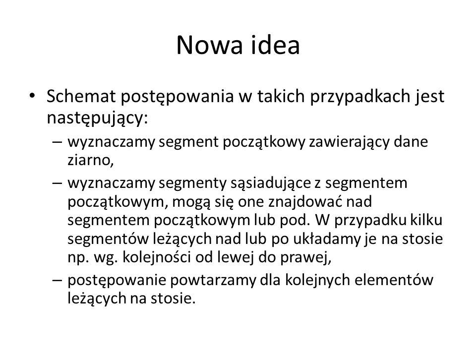 Nowa idea Schemat postępowania w takich przypadkach jest następujący: – wyznaczamy segment początkowy zawierający dane ziarno, – wyznaczamy segmenty s
