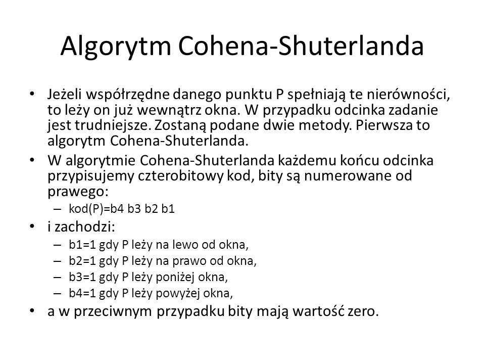 Algorytm Cohena-Shuterlanda Jeżeli współrzędne danego punktu P spełniają te nierówności, to leży on już wewnątrz okna. W przypadku odcinka zadanie jes