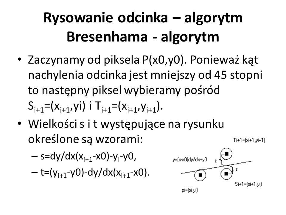 Rysowanie odcinka – algorytm Bresenhama - algorytm Zaczynamy od piksela P(x0,y0). Ponieważ kąt nachylenia odcinka jest mniejszy od 45 stopni to następ