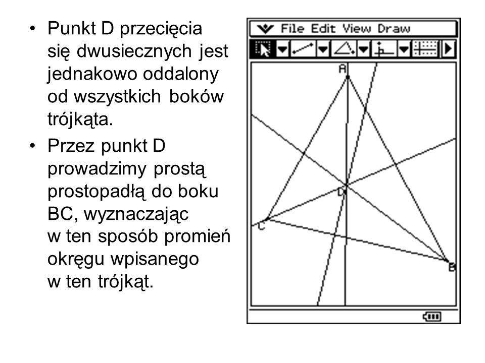 Odcinek DE jest promieniem okręgu wpisanego w trójkąt ABC.