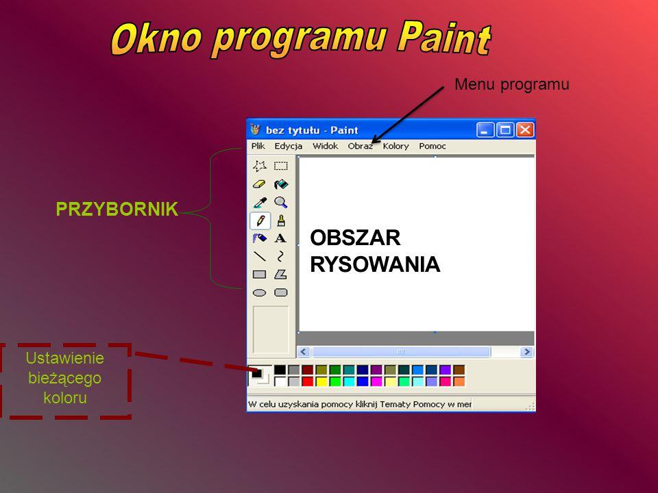 PRZYBORNIK Ustawienie bieżącego koloru OBSZAR RYSOWANIA Menu programu