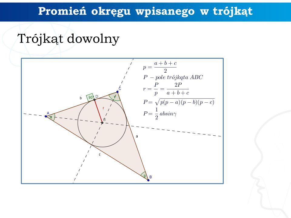 Promień okręgu wpisanego w trójkąt Trójkąt dowolny