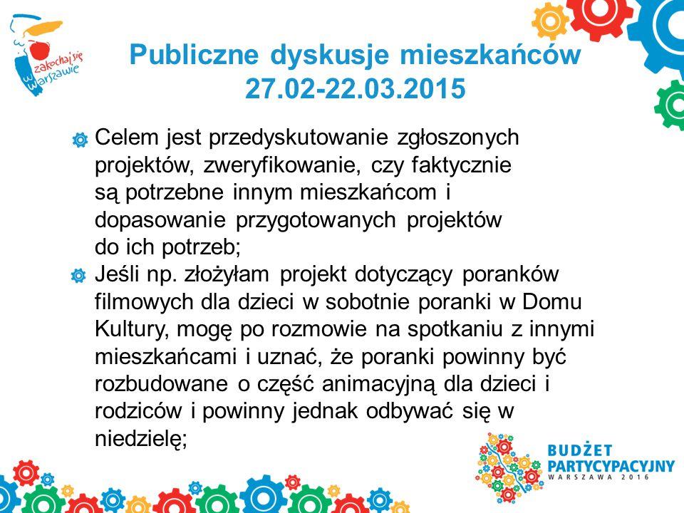 Publiczne dyskusje mieszkańców 27.02-22.03.2015 Celem jest przedyskutowanie zgłoszonych projektów, zweryfikowanie, czy faktycznie są potrzebne innym m