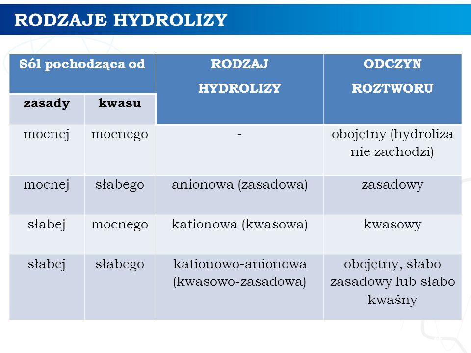 RODZAJE HYDROLIZY Sól pochodząca od RODZAJ HYDROLIZY ODCZYN ROZTWORU zasadykwasu mocnejmocnego- obojętny (hydroliza nie zachodzi) mocnejsłabegoanionowa (zasadowa)zasadowy słabejmocnegokationowa (kwasowa)kwasowy słabejsłabegokationowo-anionowa (kwasowo-zasadowa) obojętny, słabo zasadowy lub słabo kwaśny 4