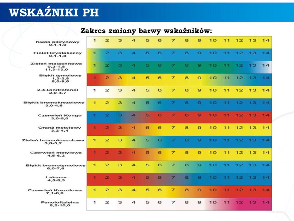 WSKAŹNIKI PH 5 Zakres zmiany barwy wskaźników: