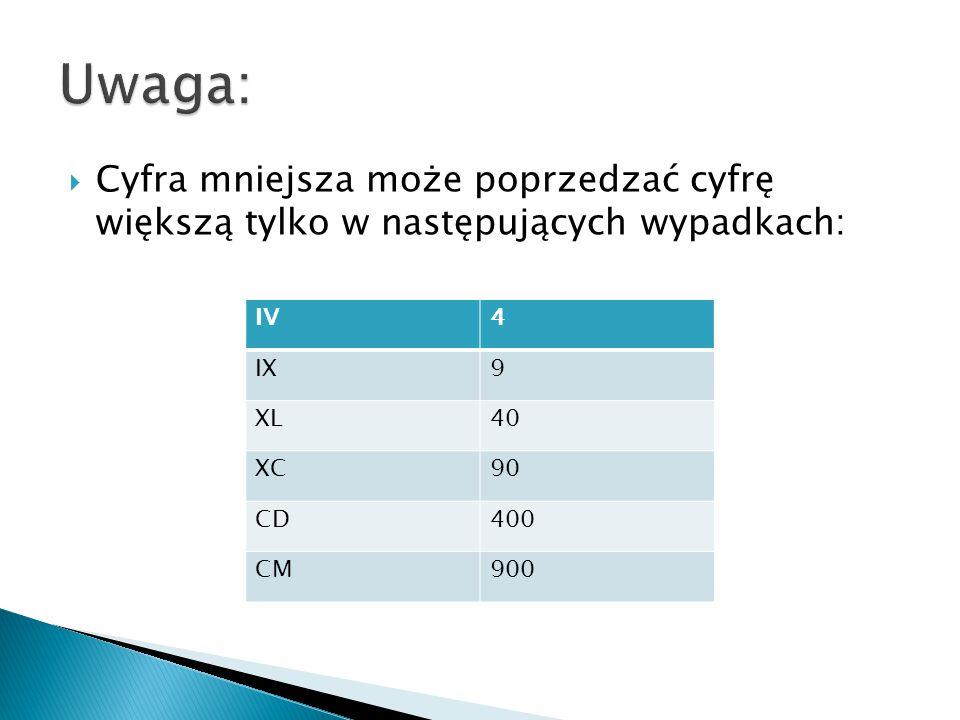  Cyfra mniejsza może poprzedzać cyfrę większą tylko w następujących wypadkach: IV4 IX9 XL40 XC90 CD400 CM900