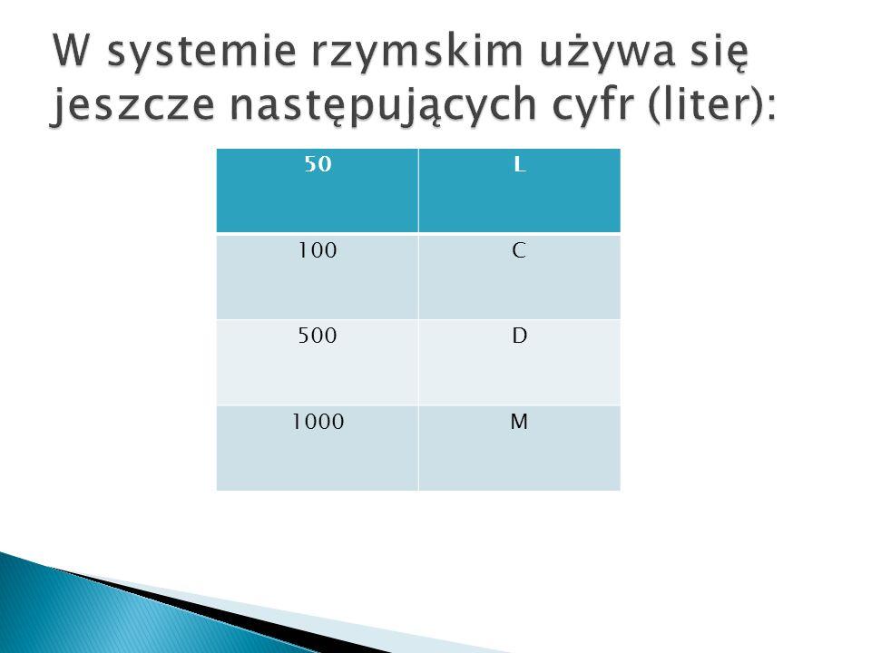  Na pewno zauważyłeś, że liczby 50, 100, 500 i 1000 są wyrażone w systemie rzymskim literami L, C, D, M.
