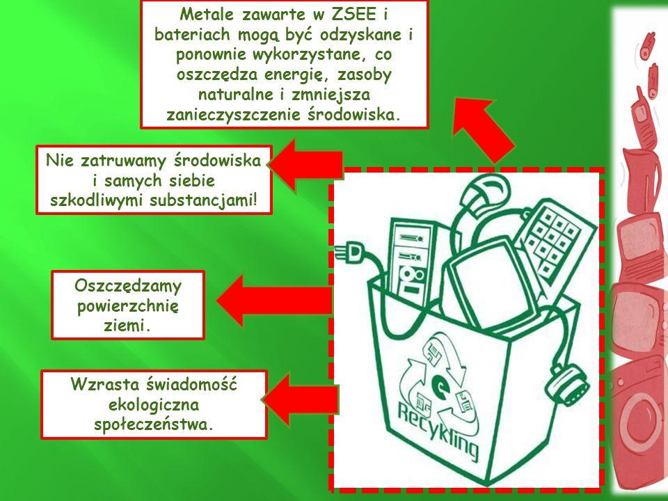 Nie zatruwamy środowiska i samych siebie szkodliwymi substancjami! Metale zawarte w ZSEE i bateriach mogą być odzyskane i ponownie wykorzystane, co os