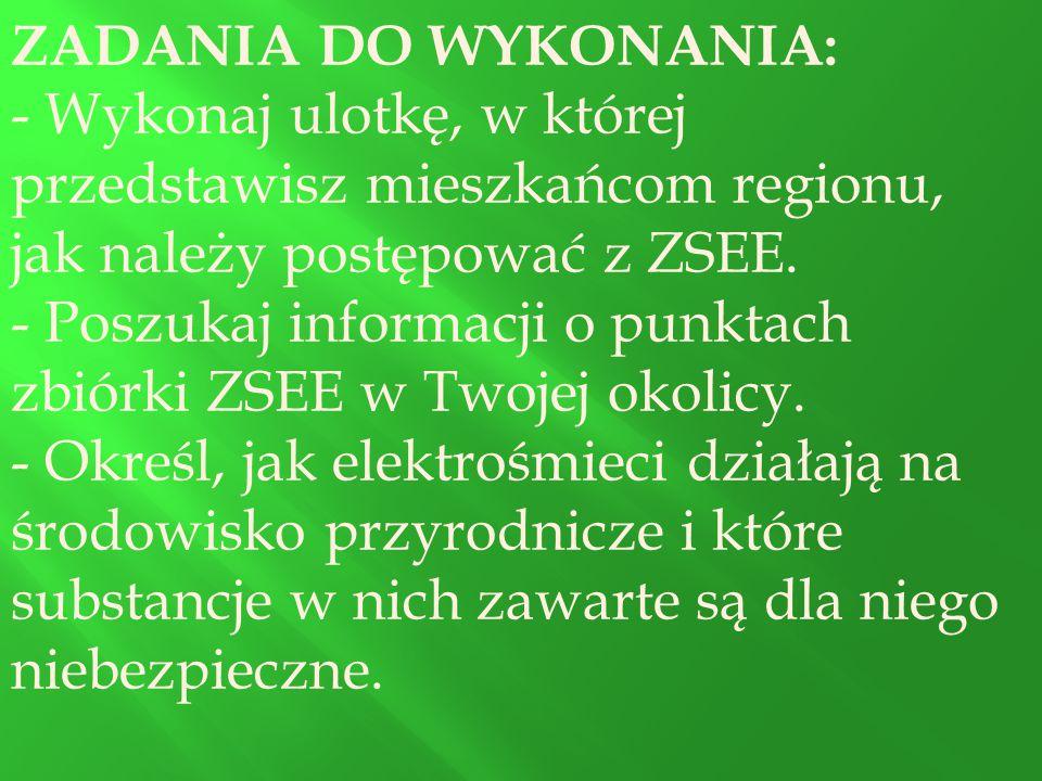 ZADANIA DO WYKONANIA: - Wykonaj ulotkę, w której przedstawisz mieszkańcom regionu, jak należy postępować z ZSEE.