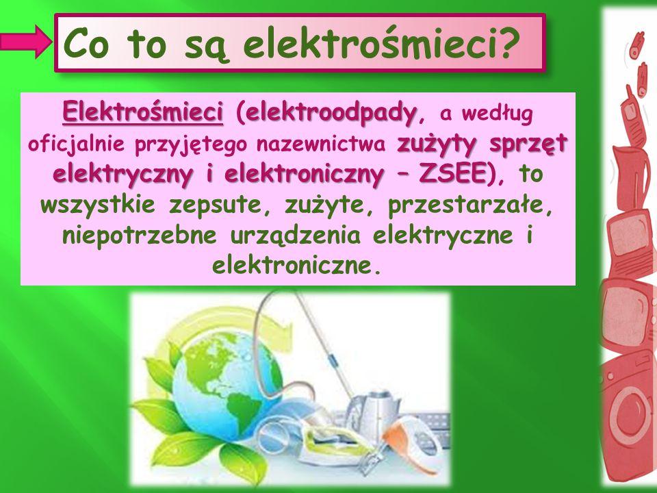 Co to są elektrośmieci? Elektrośmieci elektroodpady zużyty sprzęt elektryczny i elektroniczny – ZSEE Elektrośmieci (elektroodpady, a według oficjalnie