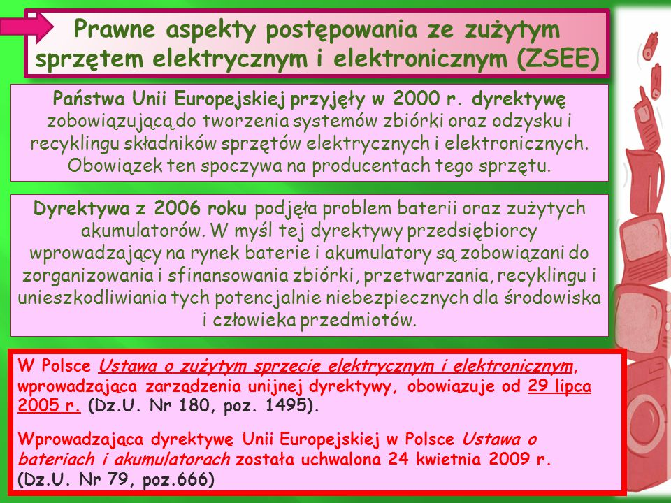 Prawne aspekty postępowania ze zużytym sprzętem elektrycznym i elektronicznym (ZSEE) Prawne aspekty postępowania ze zużytym sprzętem elektrycznym i elektronicznym (ZSEE) Państwa Unii Europejskiej przyjęły w 2000 r.
