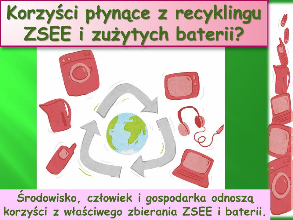 Korzyści płynące z recyklingu ZSEE i zużytych baterii? Środowisko, człowiek i gospodarka odnoszą korzyści z właściwego zbierania ZSEE i baterii.
