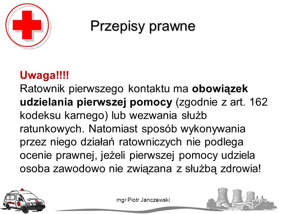 Część II Resuscytacja krążeniowo-oddechowa mgr Piotr Janczewski