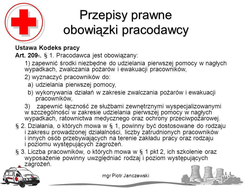 Przepisy prawne obowiązki pracodawcy Ustawa Kodeks pracy Art.