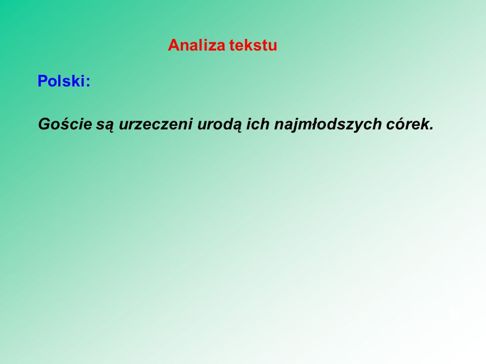Szukanie słówek w słowniku Arma virumque cano Troiae qui primus ab oris Italiam fato profugus Lavinaque venit litora virumque => VIR Italiam => ITALIA venit => VENIO 15 Lematyzacja