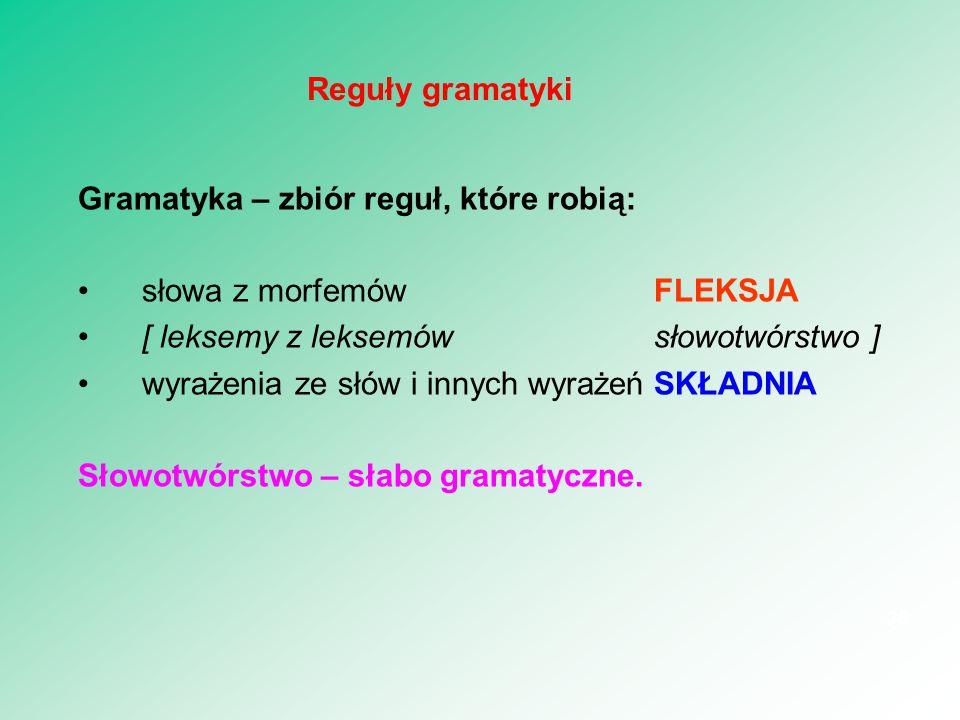 Leksemy — zbiory form wyrazowych: STUDENTKA = {studentka,studentki, studentce,..., studentki, studentek, studentkom,...} PRZECZYTAĆ = {przeczytam, przeczytasz, przeczyta,..., przeczytałem, przeczytałam, przeczytałeś,..., przeczytaj, przeczytajmy,..., przeczytałbym, przeczytałabym, przeczytałbyś,..., przeczytać, przeczytawszy} 37 Przedmiot fleksji