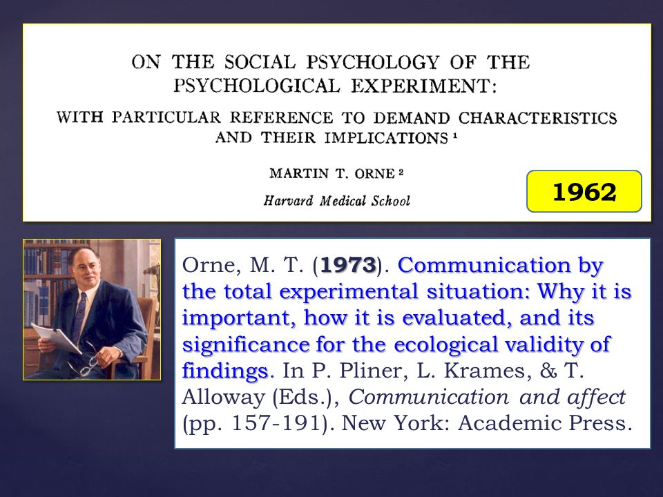 1962 1973 Communication by the total experimental situation: Why it is important, how it is evaluated, and its significance for the ecological validity of findings Orne, M.