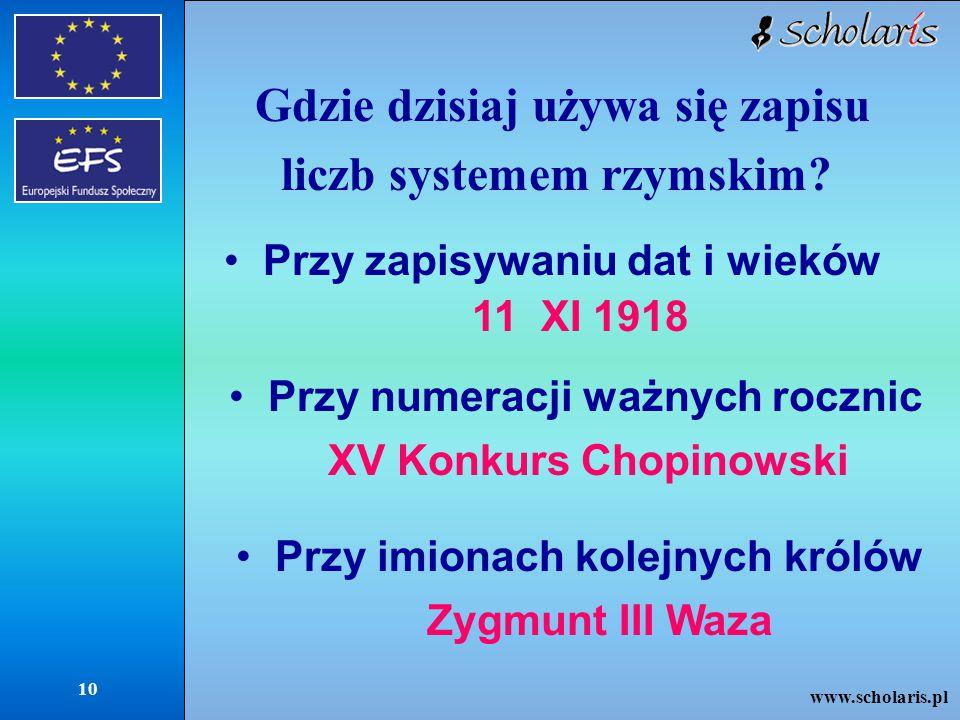 www.scholaris.pl 10 Gdzie dzisiaj używa się zapisu liczb systemem rzymskim.