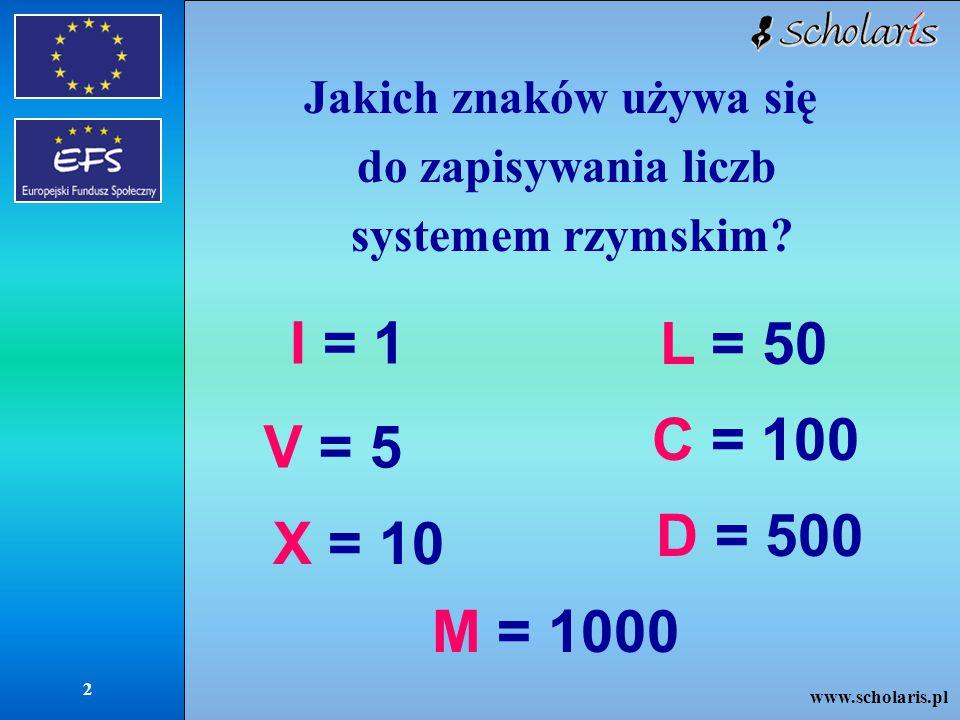 www.scholaris.pl 3 pochodzi od słowa centum = 100 pochodzi od słowa mille = 1000 C M
