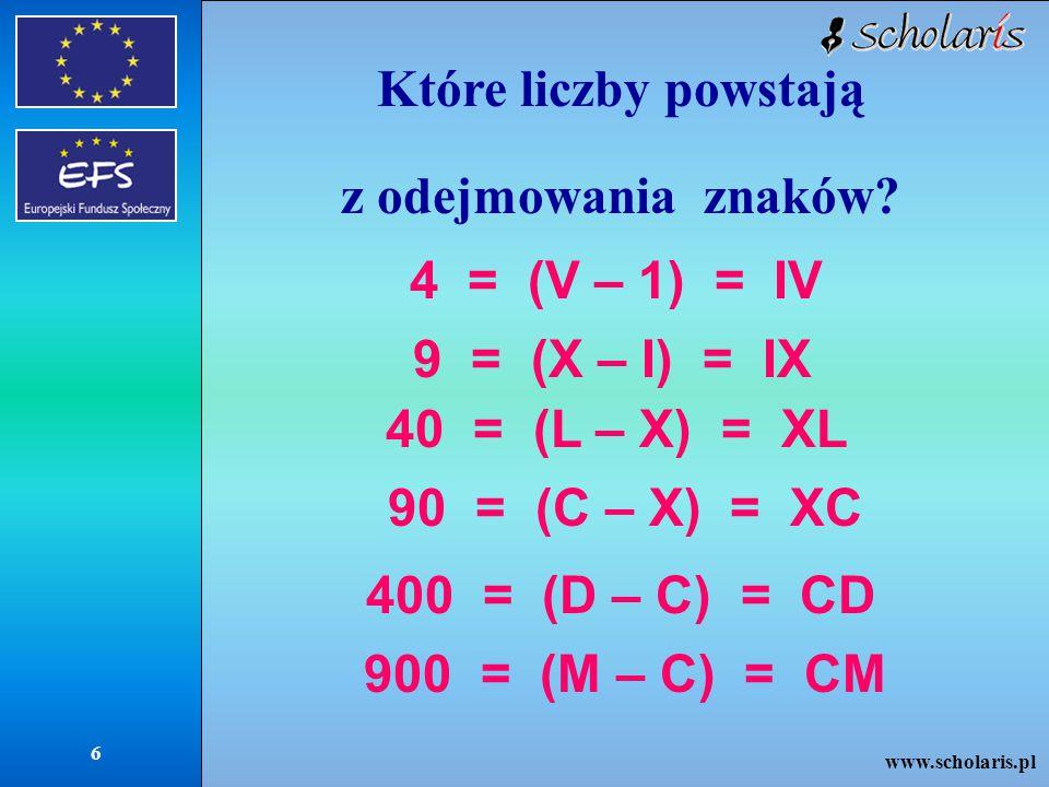 www.scholaris.pl 7 Jakie są inne zasady obowiązujące przy tworzeniu liczb systemem rzymskim.