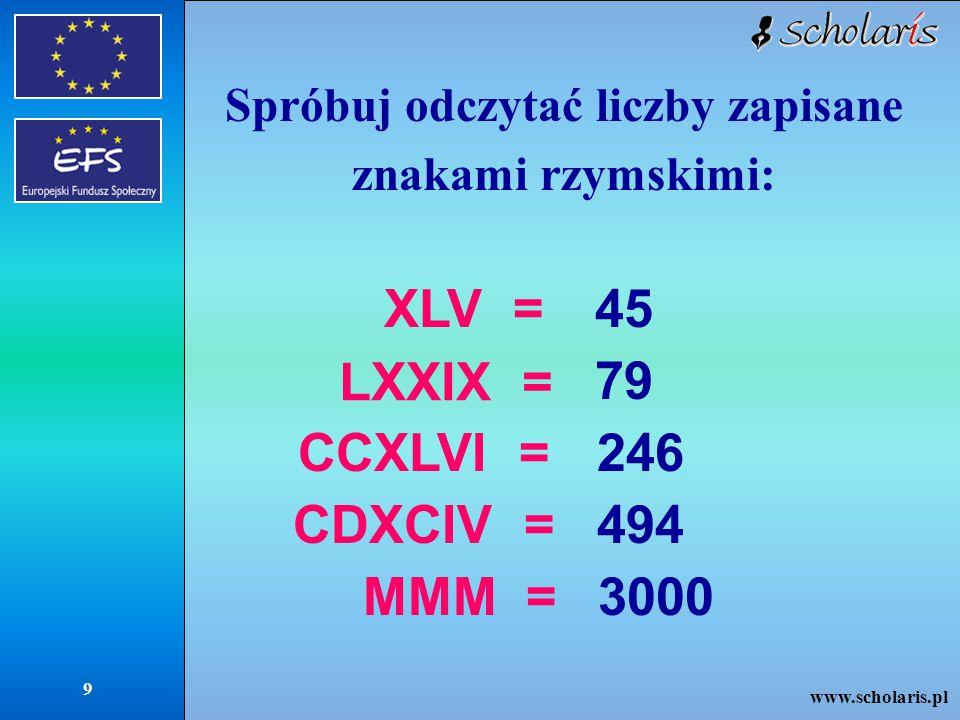 www.scholaris.pl 9 Spróbuj odczytać liczby zapisane znakami rzymskimi: XLV =45 LXXIX = 79 CCXLVI =246 CDXCIV =494 MMM =3000