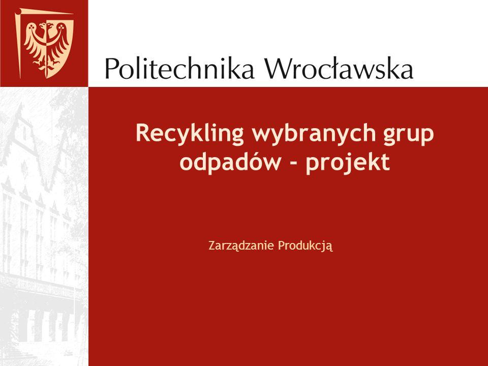 Recykling wybranych grup odpadów - projekt Zarządzanie Produkcją