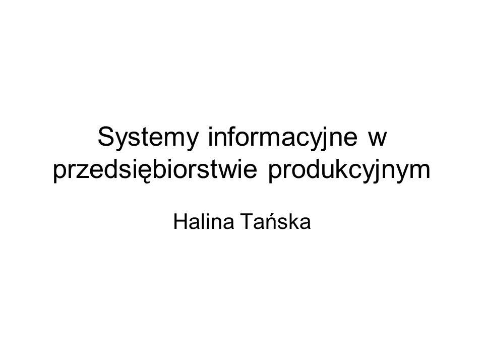 Systemy informacyjne w przedsiębiorstwie produkcyjnym Halina Tańska