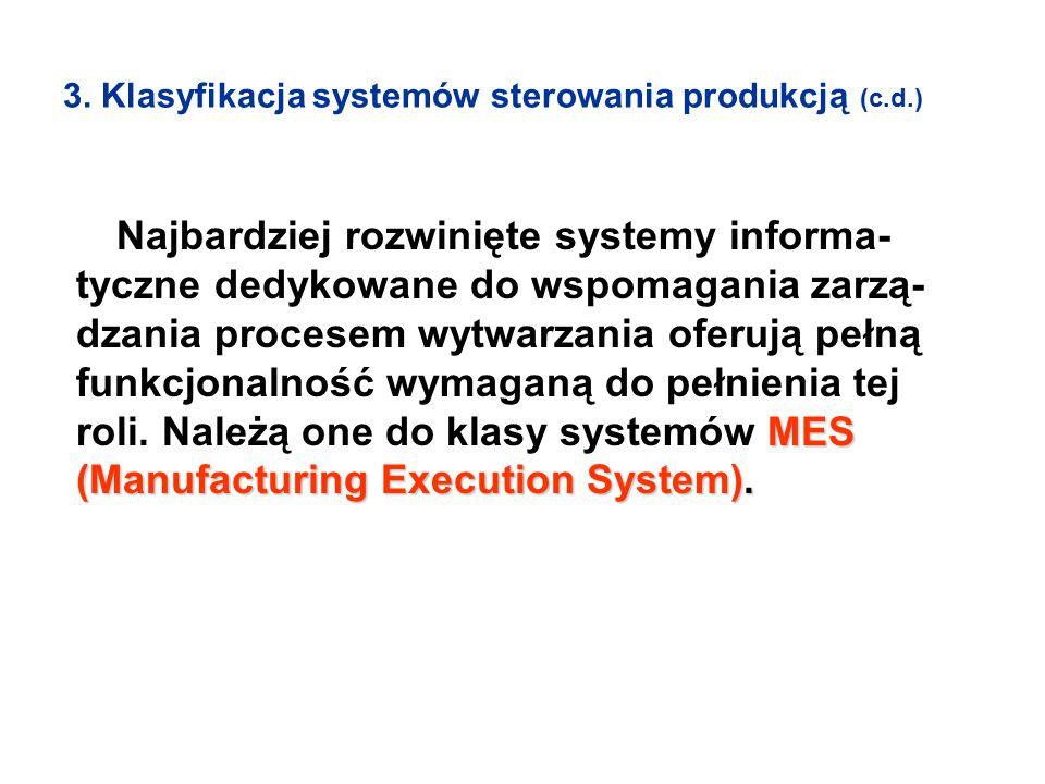 3. Klasyfikacja systemów sterowania produkcją (c.d.) MES (Manufacturing Execution System). Najbardziej rozwinięte systemy informa- tyczne dedykowane d