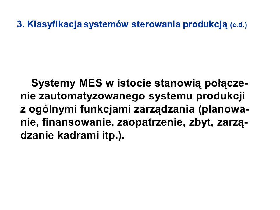 3. Klasyfikacja systemów sterowania produkcją (c.d.) Systemy MES w istocie stanowią połącze- nie zautomatyzowanego systemu produkcji z ogólnymi funkcj