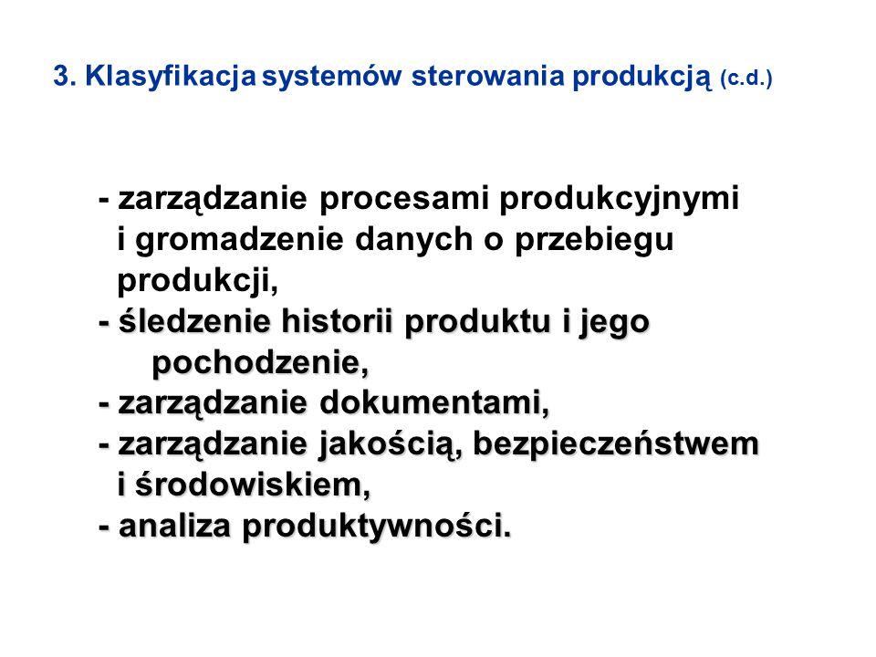 3. Klasyfikacja systemów sterowania produkcją (c.d.) - zarządzanie procesami produkcyjnymi i gromadzenie danych o przebiegu produkcji, - śledzenie his