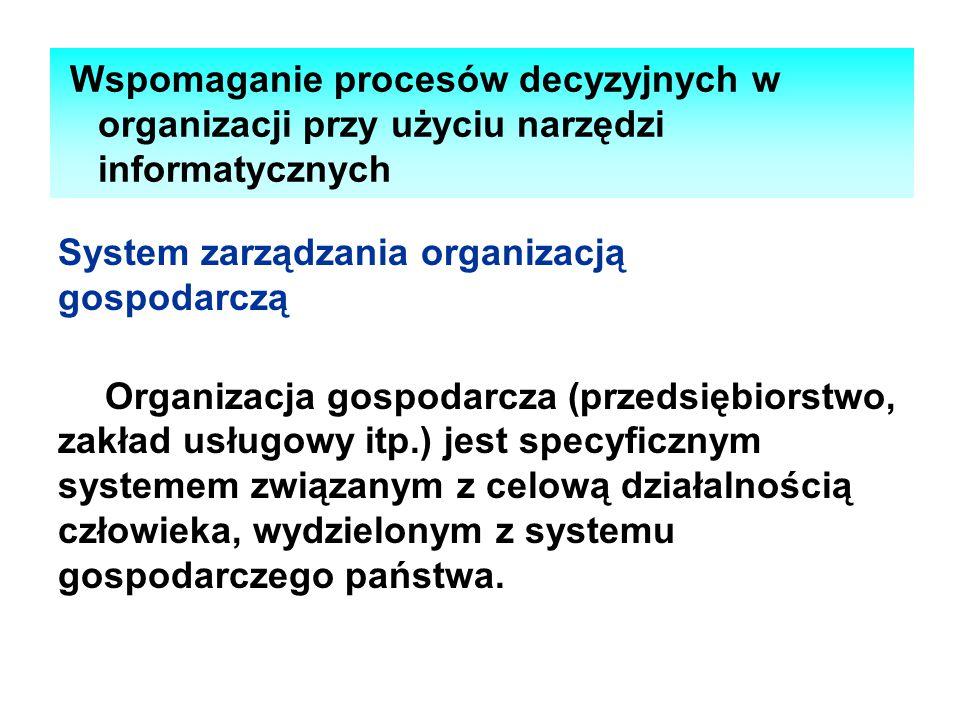 Wspomaganie procesów decyzyjnych w organizacji przy użyciu narzędzi informatycznych System zarządzania organizacją gospodarczą Organizacja gospodarcza