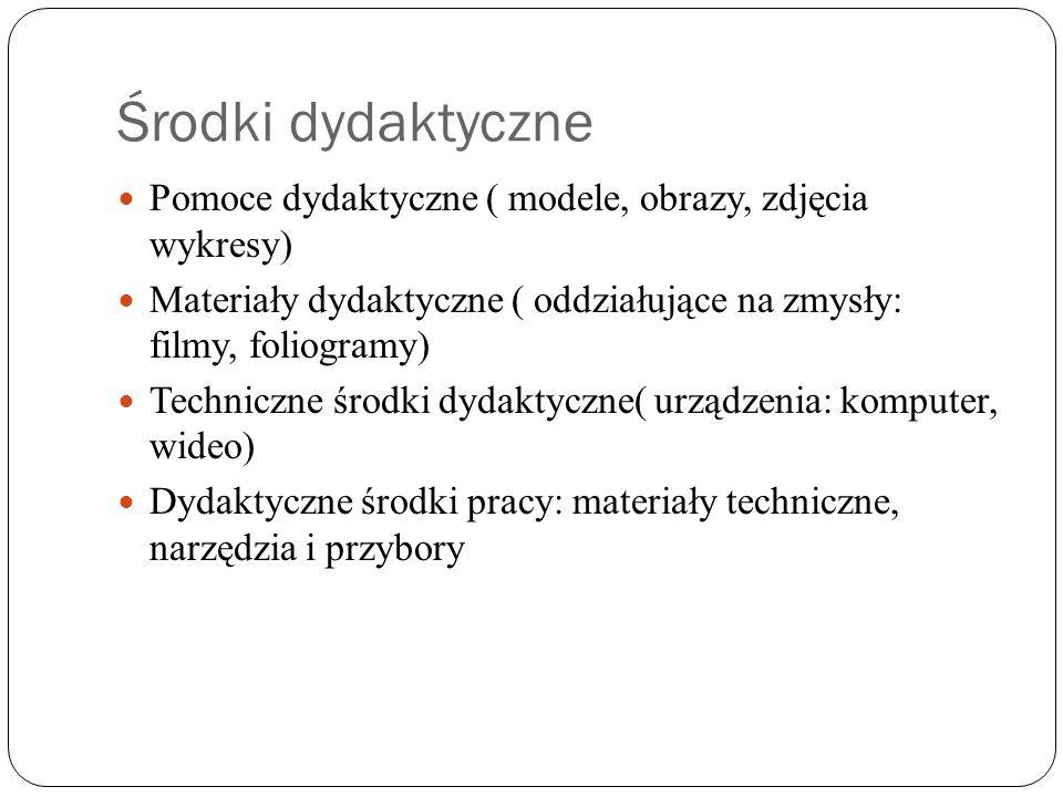 Środki dydaktyczne Pomoce dydaktyczne ( modele, obrazy, zdjęcia wykresy) Materiały dydaktyczne ( oddziałujące na zmysły: filmy, foliogramy) Techniczne