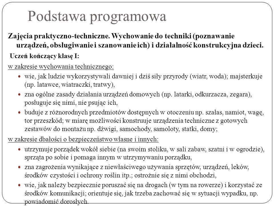 Podstawa programowa Zajęcia praktyczno-techniczne. Wychowanie do techniki (poznawanie urządzeń, obsługiwanie i szanowanie ich) i działalność konstrukc